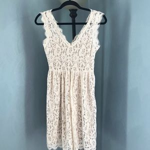 Anthropologie Ivory Lace Dress